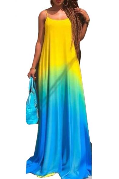 Summer Fashion Ombre Color Block Spaghetti Straps Sleeveless Floor Length Slip Dress