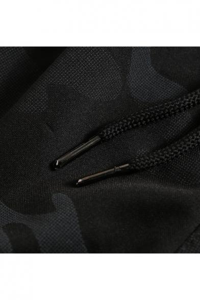 Summer New Stylish Camo Letter Printed Elastic Drawstring Waist Black Cotton Athletic Shorts for Men