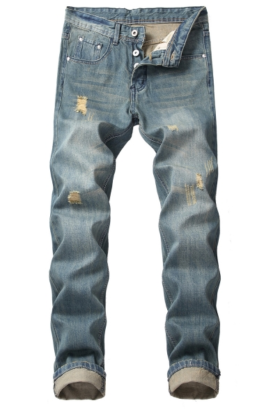 Vintage Distressed Ripped Straight Slim Fit Blue Jeans for Men