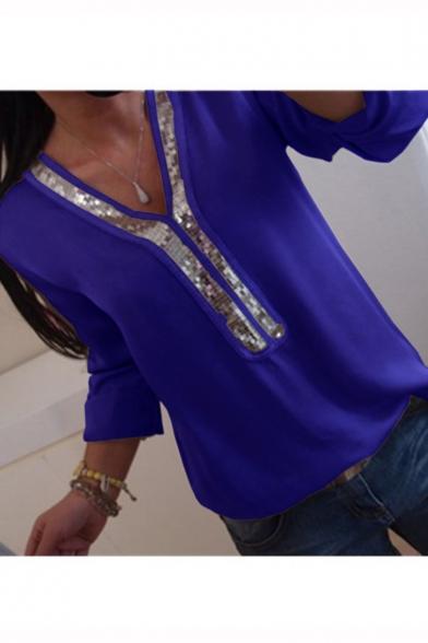 Women's Fashionable V-Neck Sequins Patchwork Long Sleeve Plain Casual T-Shirt