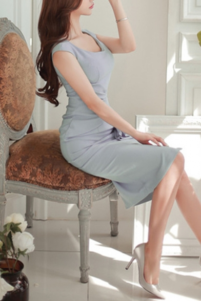 Women's Round Neck Ruffle Design Split Front Grey Midi Sheath Dress