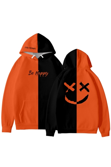 American Rapper Smile Face Letter BE HAPPY Colorblock Two-Tone Relaxed Fit Unisex Hoodie