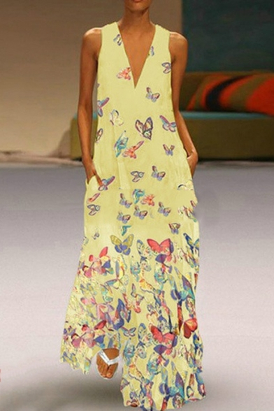 Boho Style Butterfly Printed V-Neck Sleeveless Beach Maxi A-Line Dress