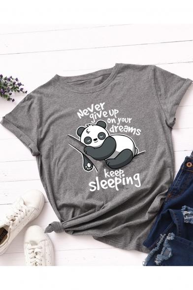 Cartoon Cute Panda Letter Print Round Neck Short Sleeves Casual Cotton Tee