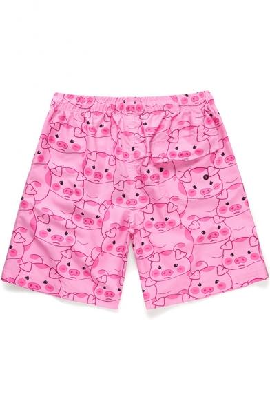 Cartoon Cute Pigs Pattern Drawcord Fast Drying Flap Pocket Back Pink Casual Swim Trunks