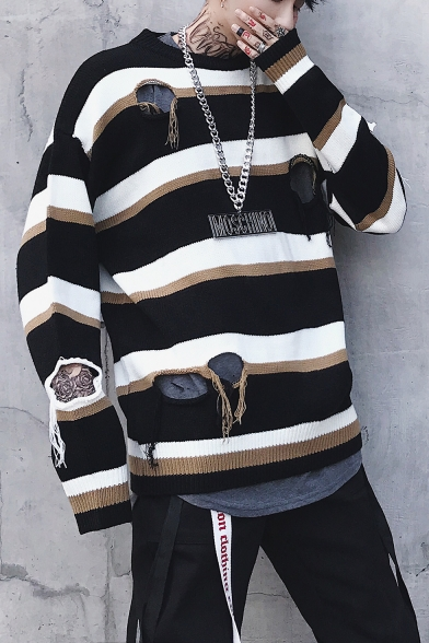 Color Block Striped Hollow Out Ripped Round Neck Long Sleeve Guys Sweater