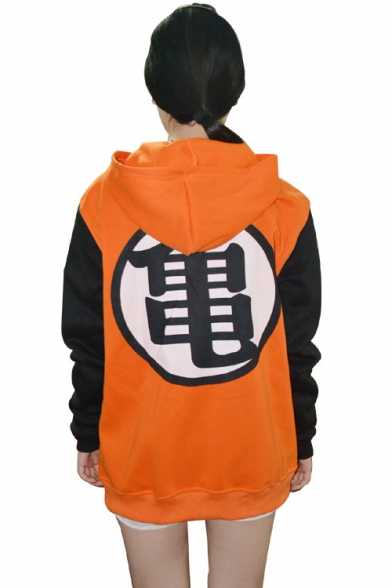 Cosplay Costume Fashion Printed Long Sleeve Color Block Zip Up Unisex Hoodie