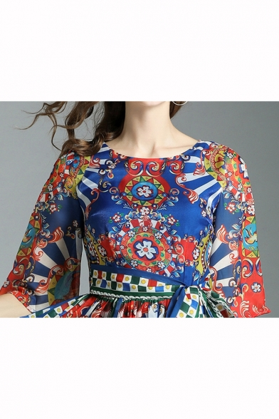 Elegant Vintage Tribal Floral Printed Half Sleeve Tied Waist Chiffon Maxi A-Line Dress for Women