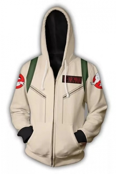 Ghostbusters Cosplay Costume 3D Figure Letter Printed Casual Zip Up Unisex Khaki Hoodie