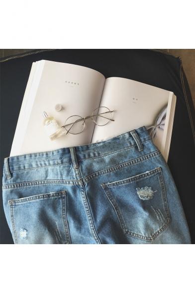 Guys Popular Trendy Applique Ripped Detail Light Blue Denim Shorts