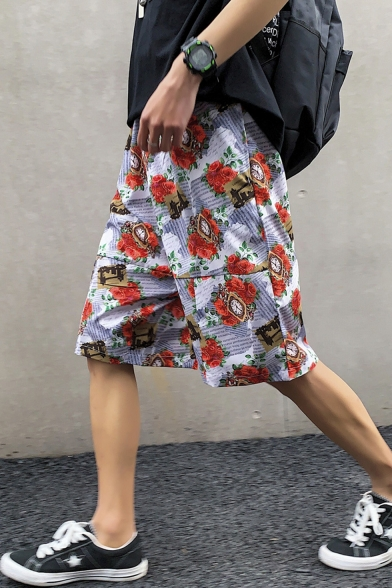 Guys Summer Fashion Allover Floral Pattern Slouch Fit Baggy Shorts
