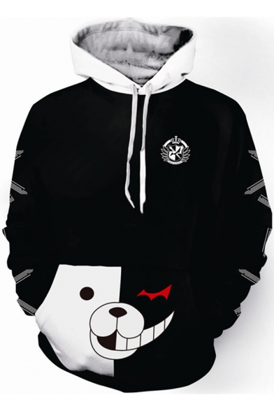 Hot Popular Game Black and White Bear Printed Long Sleeve Cosplay Pullover Hoodie