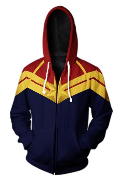 Men's Cool 3D Printed Colorblock Long Sleeve Cosplay Zip Up Navy Hoodie