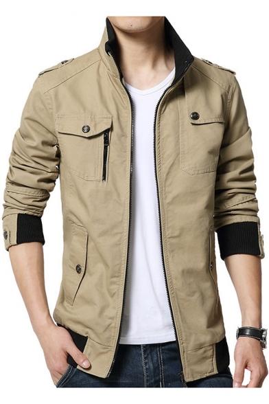 Mens Plain Stand-Up Collar Epaulet Details Long Sleeve Zip Up Slim Cotton Jacket