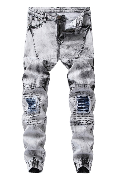 Mens Vintage Bleach Washed Ruched Pleated Details Elastic-Cuff Stretch Fit Grey Ripped Jeans