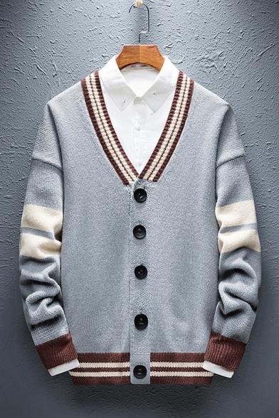 Mens Vintage Colorblock Stripe Trim V-Neck Button Front Casual Knit Cardigan