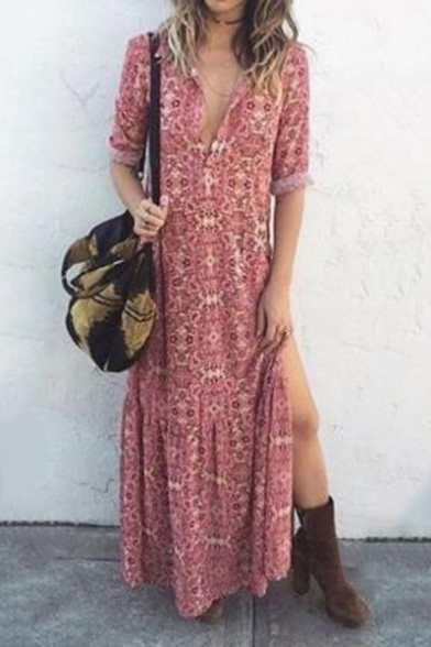 New Style Vintage Floral Printed Plunge Neck Split Hem Half Sleeve Maxi Beach Dress in Pink