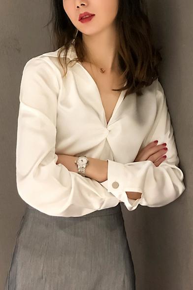 New Stylish Women's Plain V-Neck Kinking Design Long Sleeve Loose Blouse