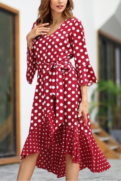 New Trendy V-Neck Clasic Polka Dot Printed Long Sleeve Womens Midi Asymmetric Dress