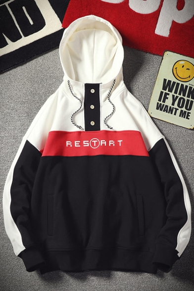 Simple Letter RESTART Fashion Color Block Long Sleeve Button Front Oversized Relaxed Hoodie