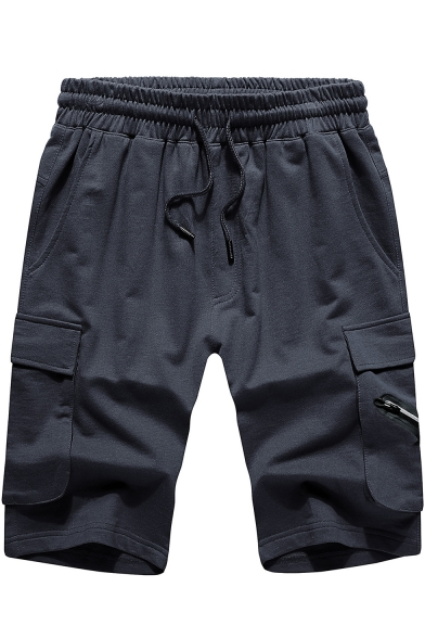 Summer Guys Simple Plain Drawstring Waist Flap Pocket Side Sport Cotton Shorts Cargo Shorts