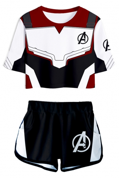 The Avengers 4 New Stylish 3D Printed Quantum Battle Suit Cropped Top Elastic Waist Shorts with Pocket Co-ords, LC512426