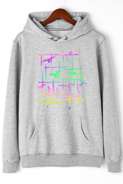 Unique Cool Colorful Eagle Bird Print Long Sleeve Pullover Cotton Hoodie