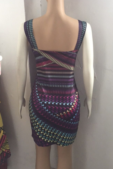 Womens Summer Fashion Printed Sleeveless Purple Mini Bodycon Dress
