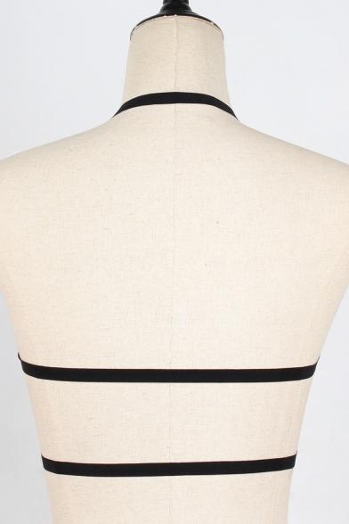 Black Sexy Hollow Out Crisscross Harness Bra Top