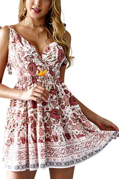 Ethnic Style Floral Printed V-Neck Tied Straps Beige Mini A-Line Dress
