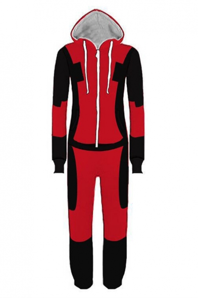 Fashion Halloween Cosplay Costume Drawstring Hoodie Long Sleeve Zip Up Red Jumpsuits