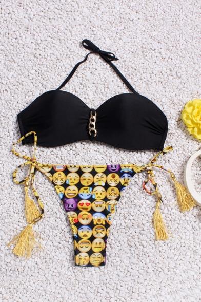 Fashion Tassel Chain Patched Halter Tied Emoji Expression Print Bikini
