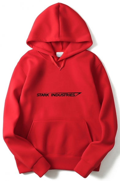 Iron Man Simple Letter STARK INDUSTRIES Long Sleeve Casual Pullover Hoodie