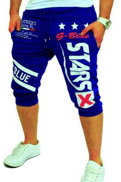 Men's Trendy Stars Letter Printed Drawstring Waist Sport Running Sweat Shorts