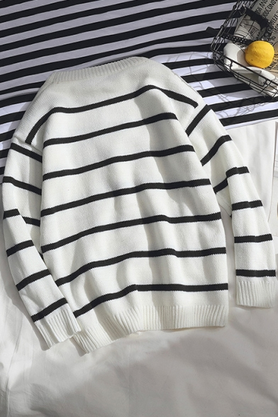 4d44574d8b4 Mens Classic Striped Print Round Neck Long Sleeve Pullover Sweater