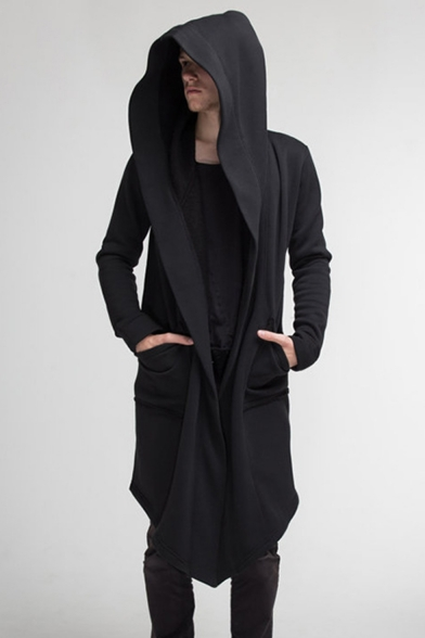 Mens New Fashion Solid Color Long Sleeve Open Front Hooded Longline Coat