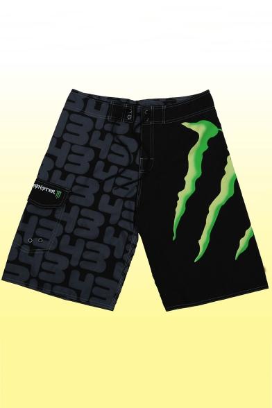Mens Summer Stylish Numeral Printed Drawstring Waist Black Casual Beach Swim Shorts with Cargo Pocket
