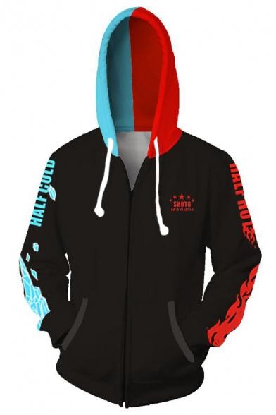 My Hero Academia 3D Printing Cosplay Costume Long Sleeve Black Zip Up Drawstring Hoodie