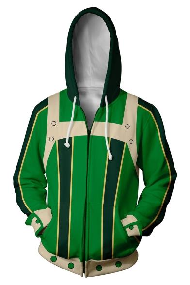 My Hero Academia Asui Tsuyu 3D Digital Printed Cosplay Long Sleeve Zip Up Hoodie in Green