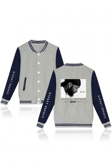 New Popular American Rapper Rib Stand Collar Long Sleeve Casual Unisex Varsity Baseball Jacket