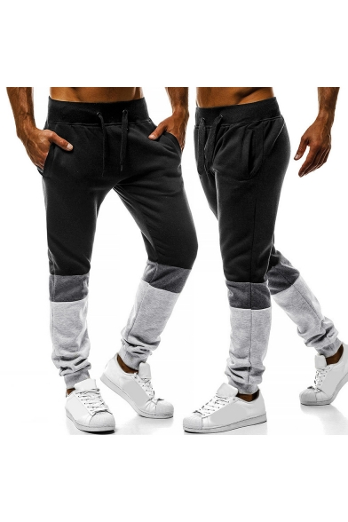 New Stylish Fashion Colorblock Drawstring-Waist Cotton Loose Casual Sport Sweatpants for Men