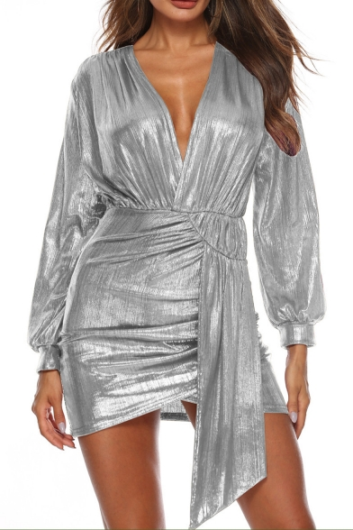 New Stylish V-Neck Long Sleeve Metallic Color Mini Asymmetrical Dress