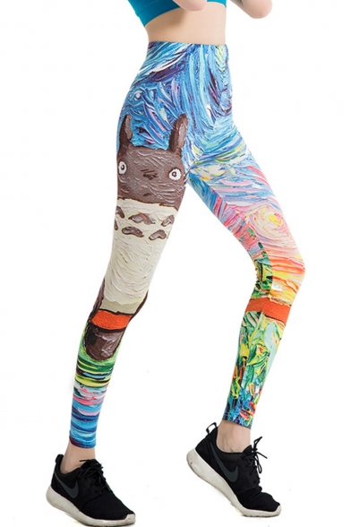 Popular Cartoon Totoro Oil Painting Womens Stretch Skinny Fit Yoga Leggings