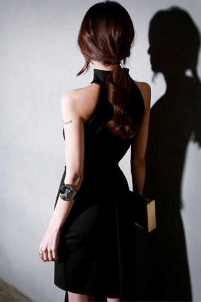Sexy Black Halter Sleeveless Midi Asymmetric Dress for Party