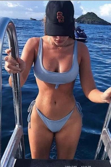 Sexy Plain Sleeveless Bow Patchwork Lace Up Detail Bikini