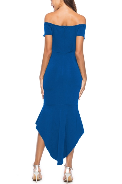 Sexy V-Neck Off the Shoulder Zip-Back Fishtail Hem Solid Maxi Asymmetrical Dress