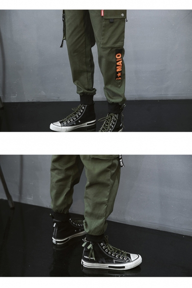 Simple Letter MAIO Flap Pocket Side Mens Cotton Loose Gathered-Cuff Fashion Cargo Pants