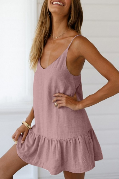 Simple Plain Spaghetti Strap Sleeveless Ruffle Hem Mini Slip Dress