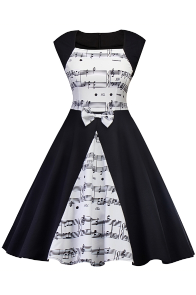 Stylish Contrast Note Printed Square Neck Bow Patch Black and White Midi Fit and Flared Dress