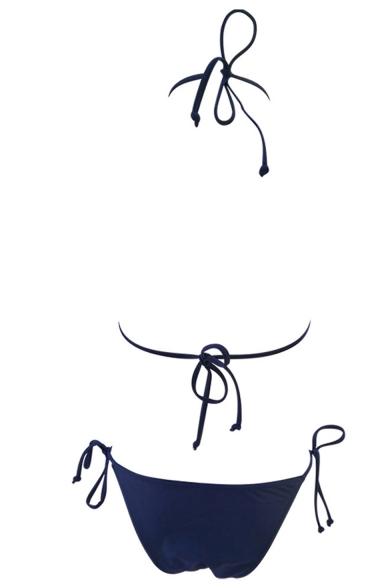 Stylish Printed Sexy Halter Neck Tied Back Bikinis